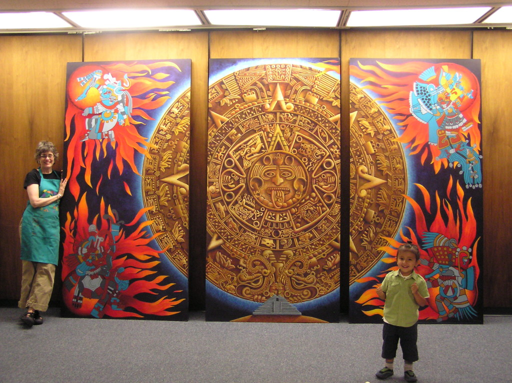 Art transforms and empowers liza myers painter and sculptor for Aztec mural painting