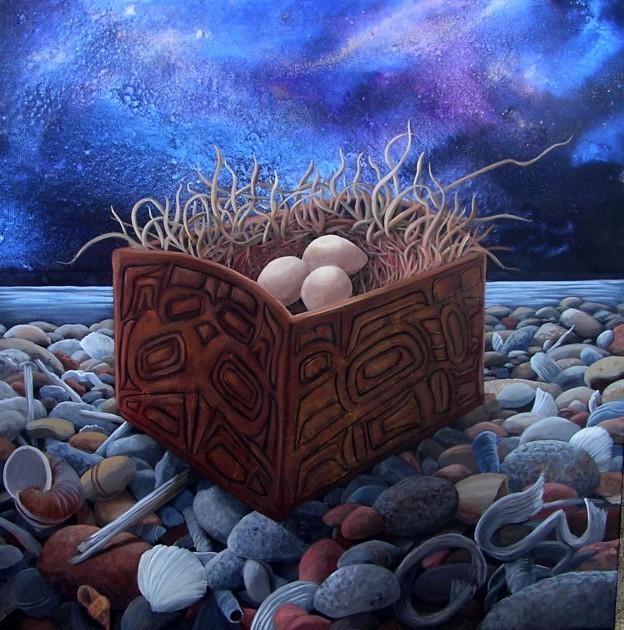 Bentwood Bowl original acrylic painting ©liza myers
