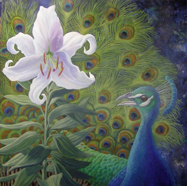 Peacock with Lily ©liza myers acrylic on canvas