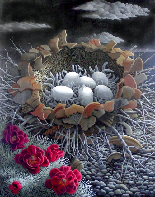 Shard Nest, © liza myers acrylic on canvas 60