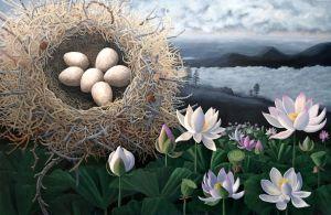 "Lotus Nest 40"" x 60"" acrylic on canvas, © liza myers 2015"