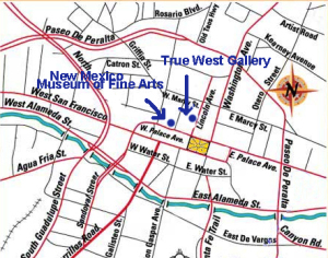 The True West Gallery and Fine Arts Museum are at the end of the arrows.