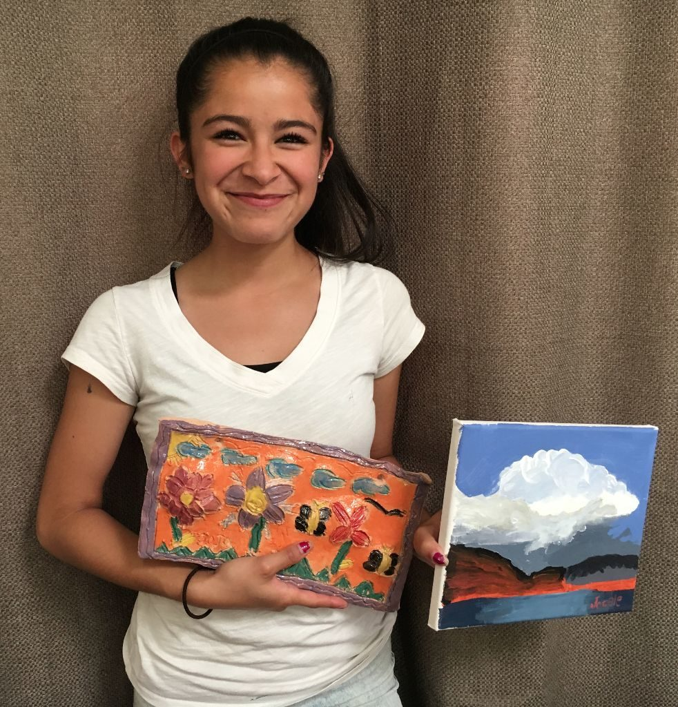 Acrylic landscape and clay garden. And a happy smile!