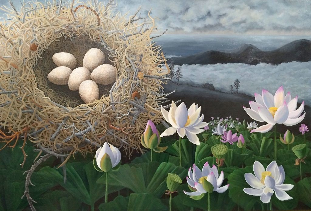 "Lotus Nest, acrylic on canvas, 40"" x 60"" ©lizamyers available through True West Gallery, Santa Fe, NM"