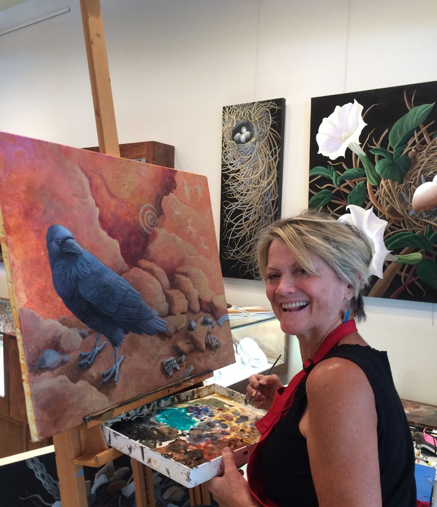 Liza doing a painting demo at True West Gallery. 130 Lincoln Avenue, Santa Fe.
